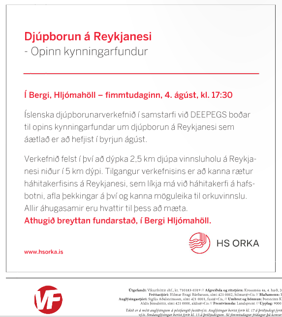 Invitation for the first public meeting regarding upcoming drilling at Reykjanesbær district, local news magazine Víkufréttir